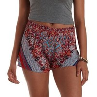 Red Combo Scarf Print High-Waisted Shorts by Charlotte Russe