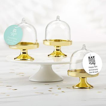 Personalized Small Bell Jar with Gold Base - Anniversary (Set of 12)
