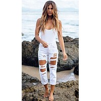 Destroyed Boyfriend Jean White Denim