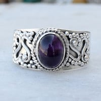 Amethyst Ring~Sterling Silver Amethyst Ring~Amethyst Silver  Ring~February Birthstone~Birthstone Jewelry