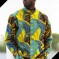 African Prnt Men Shirts-Blue & Yellow Wave Print