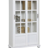 Contemporary Glass Door Bookcase With Four Shelves Home Furniture White Finish