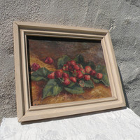 French vintage still life painting, vintage fruit oil painting, French still life, oil painting, original vintage art, rustic painting