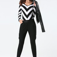 bebe Womens Chevron Striped Bodysuit Black White
