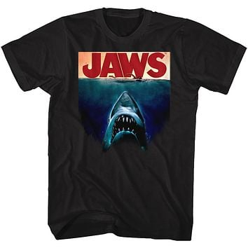 Jaws Tall T-Shirt Deep Blue Movie Poster Black Tee