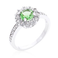 Peridot Halo Engagement Ring, Peridot Ring, CZ Ring, Halo Ring, CZ Wedding Ring, CZ Engagement Ring, 1.23 ct August Birthstone Ring
