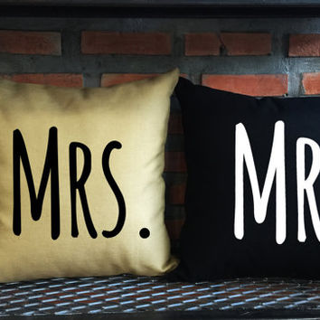 Mr and Mrs Throw Pillow, his and hers ,Wedding gift, Family pillow cover set