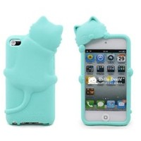 BYG Light Blue Cute Lovely Kiki Cat Silicone Case Cover For ipod touch 4 + Gift 1pcs Phone Radiation Protection Sticker