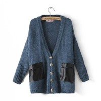 Long Sleeve Contrast Leather Pockets Cardigan blue