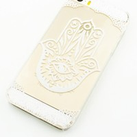 Clear Plastic Case Cover for Iphone 5 5s 5c- (Henna) Hamsa Hand of Fatima Mary Ohm (For iPhone 5 5S)