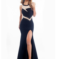 High Neck With High Slit Prom Dress By Rachel Allan 6937