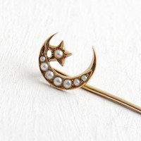 Antique Victorian 14k Gold Star & Moon Pearl Stick Pin- Vintage Early 1900s Yellow Gold Fine Jewelry