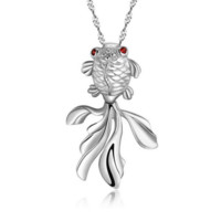 Goldfish Pendant Necklace - 925 Sterling Silver