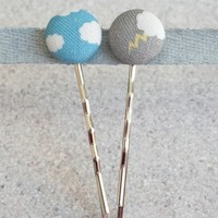 Fifty Percent Chance - Handmade Sunny Clouds & Thunderstorms Fabric Covered Button Hairpins