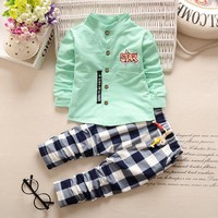 2pcs Cotton Shirt + Plaid Pants for Toddler Boys