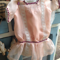 1940s sheer peach lace baby dress/ old baby dresses/vintage baby clothes
