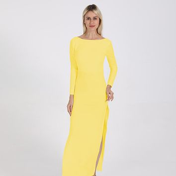 fhotwinter19 Sexy open back split long sleeves and floor dress