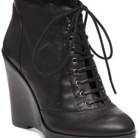 Jessica Simpson Kaelo Faux-Shearling Lace-Up Wedge Booties - Boots - Shoes - Macy's