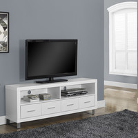 """White Hollow-Core 60""""L TV Console with 4 Drawers"""