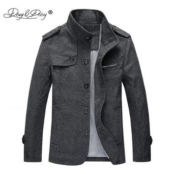 New Arrival Fashion Men's Wool Coat Men Winter Jacket Man Business Casual Brand Clothing Slim Autumn Overcoat JK066