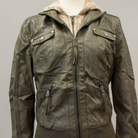 Bomber Jacket with Built in Liner - Olive