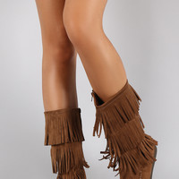 Soda Tiers of Fringe Moccasin Flat Boot