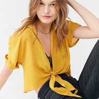 UO Polka Dot Tie-Front Top | Urban Outfitters