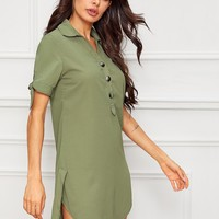 Knot Cuff Button Front Split Hem Shirt Dress