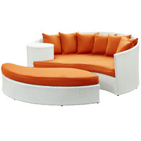 Tonga Outdoor Wicker Patio Daybed with Ottoman White / Orange