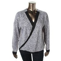Kenneth Cole New York Womens Gail Satin Sequin Print Blouse