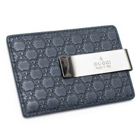 ONETOW Gucci Blue Money Clip Leather Wallet Guccissima style Box New 115268 BMJ1R BLU