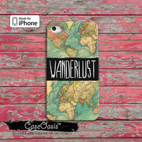 Wanderlust World Map Travel Quote Cute Tumblr Inspired iPhone 4 Case and iPhone 5/5s/5c Case and iPhone 6, 6 Plus, 6s, 6s Plus + Wallet Case