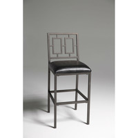 Contemporary 30-inch Metal Bar Stool with Black Faux Leather Seat