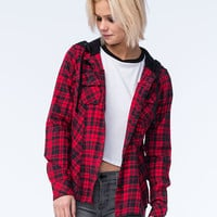 Metal Mulisha Recover Womens Hooded Flannel Red  In Sizes