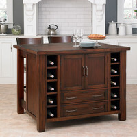 Home Styles Furniture 5410-948 Cabin Creek Kitchen Island with Breakfast Bar and Two Stools