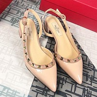 Valentino Summer Classic Women Princess Pointed Rivet Sandals Shoes
