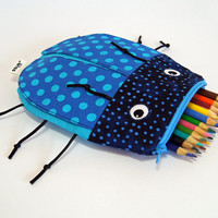 Boys Bag by MinneBites / Handmade School Bag - Boys Toy Bag - School Supplies - Pencil Case - Blue Pencil Pouch - Ready to Ship