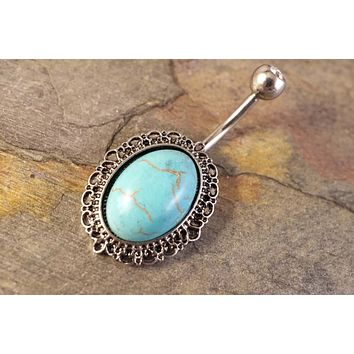 Western Turquoise Belly Button Ring