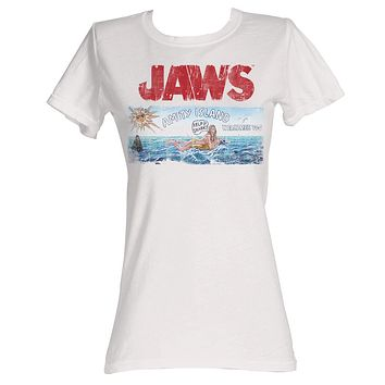 Jaws Juniors Shirt Distressed Movie Poster Royal Tee