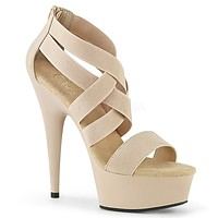 "Delight 669 Nude Elastic Cross Strap - 6"" High Heel Platform Shoe"