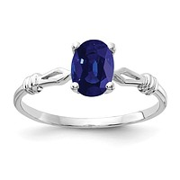 14k White Gold 7x5mm Oval Sapphire Ring