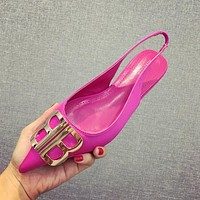 Balenciaga Fashion Women Casual Metal BB Buckle Flats Pointed Shoes Single Shoes(2-Color) Rose Red I13718-1
