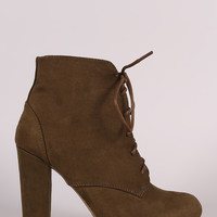 Bamboo Lace Up Fur Lined Chunky Heel Ankle Bootie