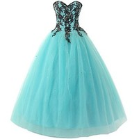 Mic Dresses Women's Sweetheart Lace Strapless Princess Ball Gown Prom Dress