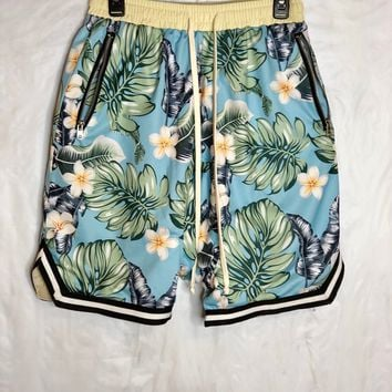 Blue Floral Fear of God inspired Basketball Shorts