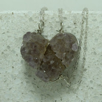 Druzy Friendship Necklaces set of 3  raw  Amethyst Pendants Sterling  Silver wire  bail