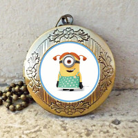 despicable stuart Locket necklace,Handmade Despicable Me 2 Minion meme locket necklace - ready for gifting - buy 3 get 4th one free