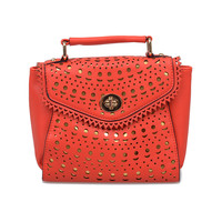 Red & Gold Laser Cut Turn Lock Purse