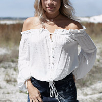 Coastal Vibes White Off The Shoulder Top