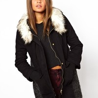 Katie Judith Parka With Faux Fur Collar